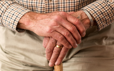 Picture of elderly man with wedding ring